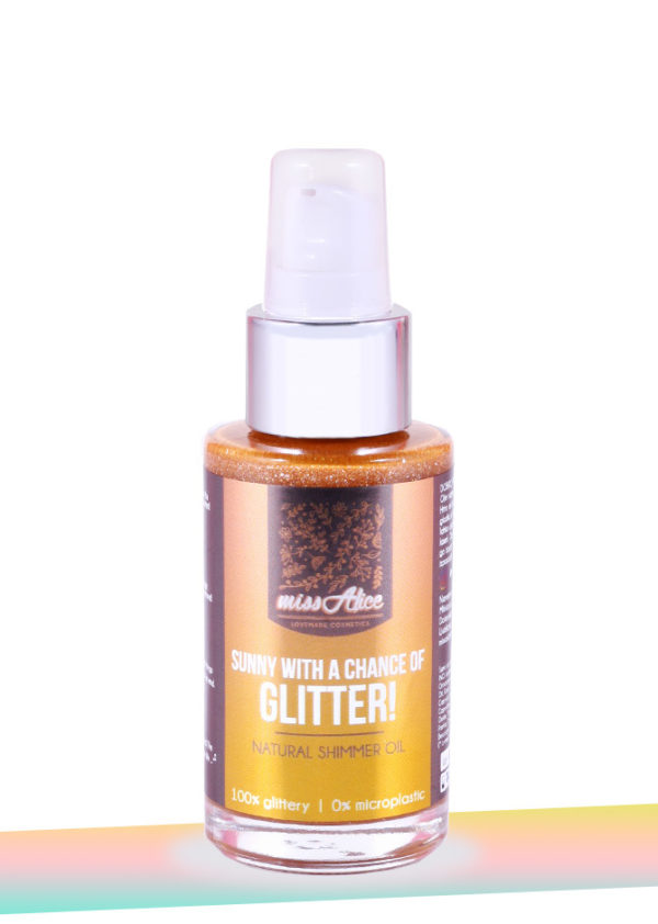 Natural body shimmer Oil Sunny with a chance of Glitter!